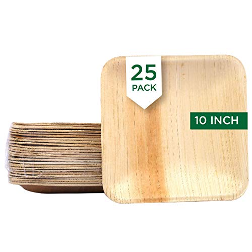 Raj Disposable Palm Leaf Plates [25 Count] 10' Square Plates Strong and Reusable Like Bamboo Party Plates - Decorative Compostable Tableware for Lunch, Dinner, Birthday, Camping, Outdoor BBQ, Picnic