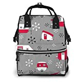 Mochila para pañales Diaper Bag Backpack Julie's Campers Red On Charcoa...