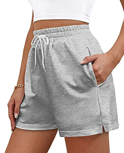 OFEEFAN Workout Shorts for Women Athletic Works Shorts with Pockets Elastic Waist Grey L