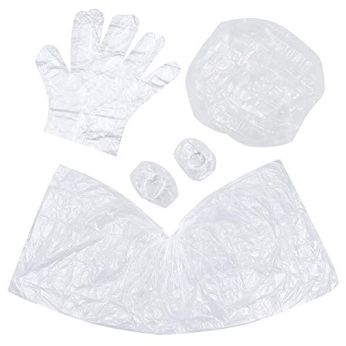 Pixnor 10 stuks wegwerp-tondeushangers kunststof handschoenen douchebak oorbeschermer doppen set haarknit omhangers overalls kleurmiddel
