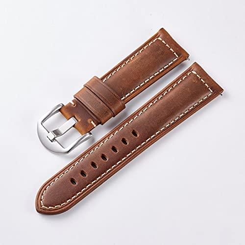 Fawyhr Reloj Accesorios Correa de Reloj de Cuero 20 mm 22 mm 24 mm Liberación rápida Vintage Aceite Cera Banda de Reloj Banda Fósil (Color : Brown, Size : 20mm)