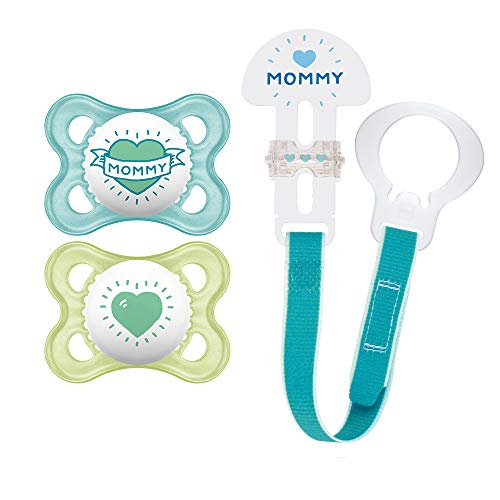 "MAM Pacifier and MAM Pacifier Clip Value Pack (2 Pacifiers & 1 Clip), Pacifiers 0-6 Months for Baby Boy, Baby Pacifiers ""I Love Mommy"" Design, Baby Pacifier Clips, Designs May Vary"