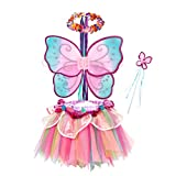 Pink Rainbow Fairy Princess Costume for Girls Dress Up with Tutu Dress and Accessories (Toddler(3-4yr))