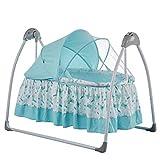 Wwyaoyi Baby Electric Shaker, Baby Automatische Swing Schaukelstuhl Neugeborenen Wiege, Musik Fernbedienung Beruhigender Shaker, Baby-Sicherheitsmücken, Rosa WTZ012 (Color : Blue)