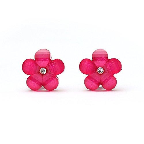 Idin Orecchini a clip - Fiore rosa fucsia con strass e effetto cristallo (ca. 17 x 17 mm)