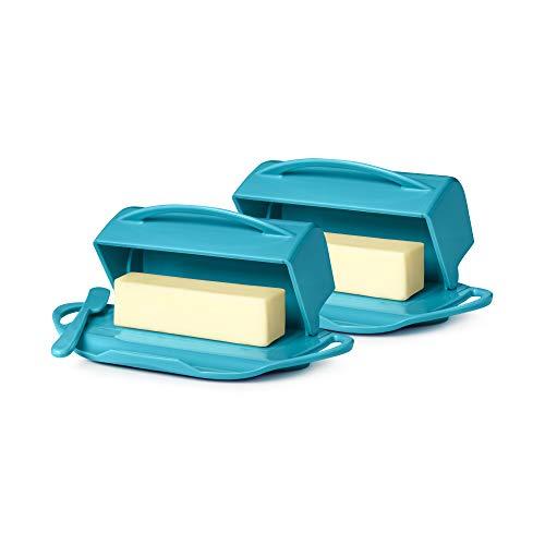 Butterie Flip-Top Butter Dish with Matching Spreader, 2-Pack (Aqua)