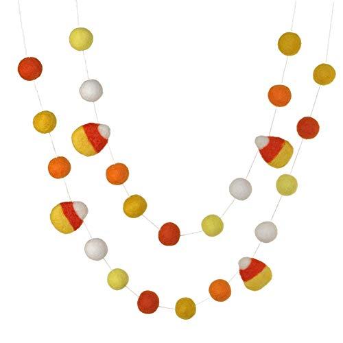Candy Corn Felt Ball Garland- Oranges and Yellows- Pom Pom- Fall Autumn Halloween Trick or Treat Decor