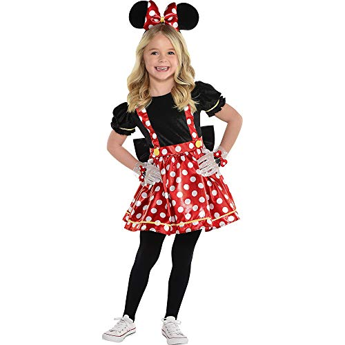Party City Minnie Mouse Red Halloween Costume for Girls, Disney, Medium 8-10, Includes Dress and Headband
