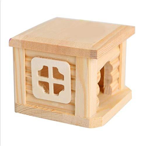 Kawosh Hamsterhaus Hölz Hamster Warm bed hutten Kleine dierlijke weide Douane huis voor knuffels huis Eekhoorn Hedgehog Chinchillas 10 * 10 * 8 cm