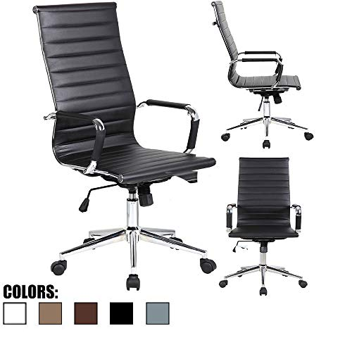 2xhome - Modern High Back Tall Ribbed PU Leather Swivel Tilt Adjustable Chair Designer Boss Executive Management Manager Office Conference Room Work Task Computer Black