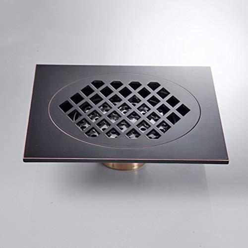 Feixunfan Bodenablauf Alle Kupfer Anti-Geruch Großer Bodenablauf Antike Überzogene Honeycomb Große Verschiebung für Badezimmer Duschraum Toilette (Color : Black, Size : ONE Size)