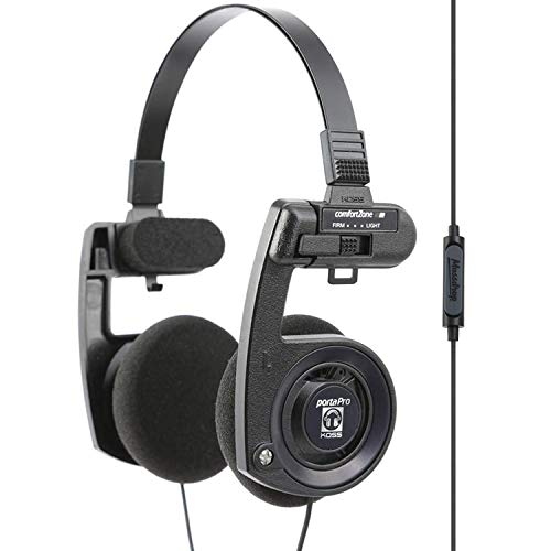 Massdrop x Koss Porta Pro X On-Ear Headphones — Noise-Cancelling in-line Microphone, Activate Voice Assistant or Skip Tracks with in-line Remote, Collapsible for Maximum Portability (Midnight Blue)