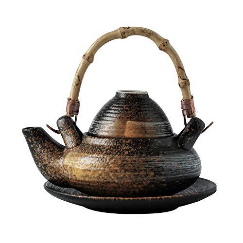 MAGO Tetera de cerámica, Serie de rimas japonesas, Tetera con Sopa de mariscos y Taza de té (Color : A)