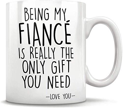 i adorable futuro compañero de vida Ser mi prometido es el único regalo que necesita Taza de café - Regalo blanco para un amigo Amante Padres Novio Novia Novio En cumpleaños Navidad Boda de Ac