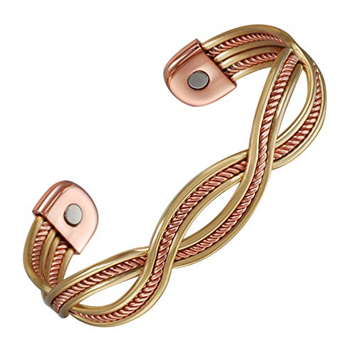 Tri Tone Woven Pure Copper Magnetic Bracelet Arthritis Adjustable Cuff Bracelet with Magnets Pain Relief & Carpal Tunnel Magnetic Therapy Bracelets