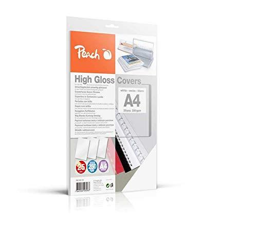 Peach PB100-16 Rückwände Deckblätter A4, 250 g/m², 25 Stück, hochglänzend, weiß