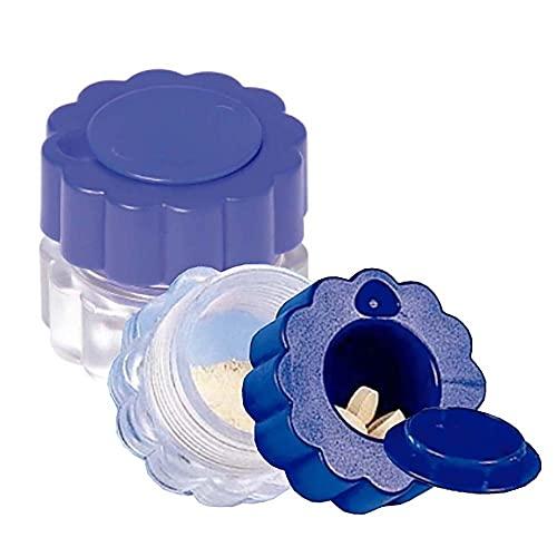 Mobiclinic, Triturador de pastillas, medicamentos, comprimidos, con contenedor, azul, transparente.