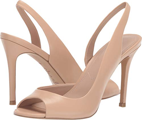 CHARLES DAVID Charles Rexx Nude Leather Open Toe Slingback Pump (5, Nude)
