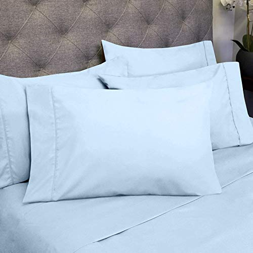Bedding Basics 100% Egyptian Cotton Sheet Set of 6 Piece - Hypoallergenic 1000 Thread Count (1 Flat Sheet, 1 Fitted Sheet with 18' Deep Pocket, 4 Pillowcases) Light Blue_Cal King
