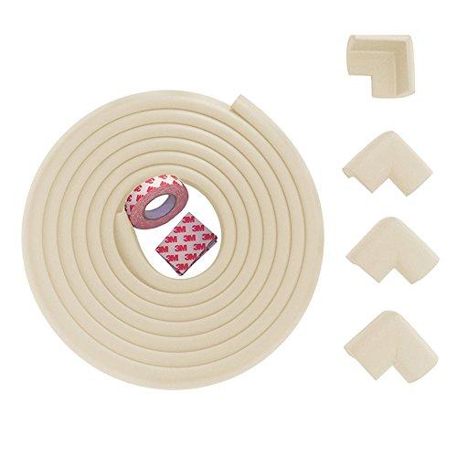Protector de esquina y borde de seguridad para bebé Fairy, protección colorida a prueba de niños (2 m y 4 protectores de esquina) crema