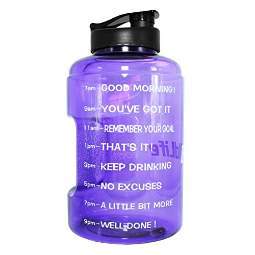 QuiFit Gallon Water Bottle with Time Marker BPA-Free...