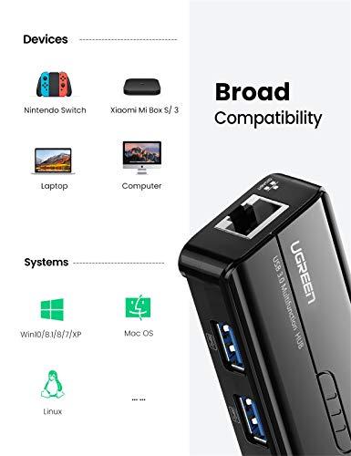UGREEN USB 3.0 Hub 3 Port mit Gigabit Netzwerkadapter LAN RJ45 Ethernet Adapter 10/100/1000 Dockingstationen für MacBook Pro Air,iMac, Mac Mini, ChromeBook Pixel, Surface Pro, Lenovo Yoga 710,schwarz