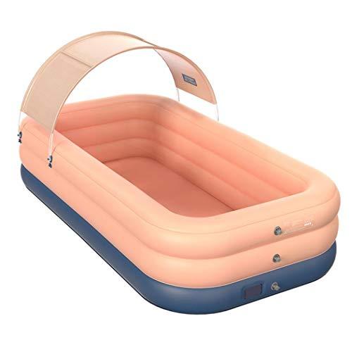 Piscina infantil con bomba, piscina inflable para niños y adultos, piscina infantil rectangular con toldo parasol (rosa, 210 x 150 x 68 cm)