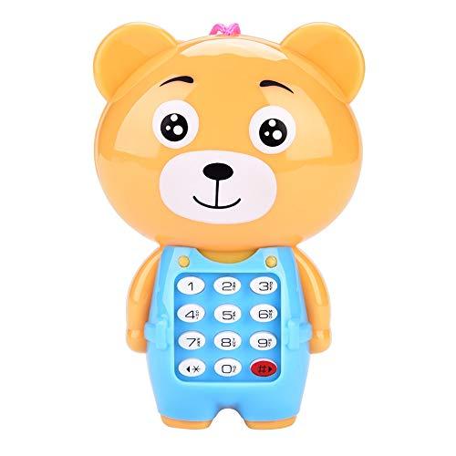 Mobiele telefoon voor kinderen, winnaar 2 modellen schattige dieren voor kinderen muzikaal speelgoed simulatie multifunctionele mobiele telefoon opknoping bed bel baby met 12 functie digitale knoppen geschenken voor kinderen (beer)