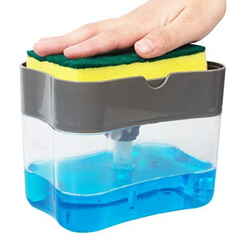 Korlon Soap Pump Dispenser and Sponge Holder 2-in-1, Dish Soap Dispenser for Kitchen Sink Dishwashing Soap Dispenser Caddy 13 Ounces
