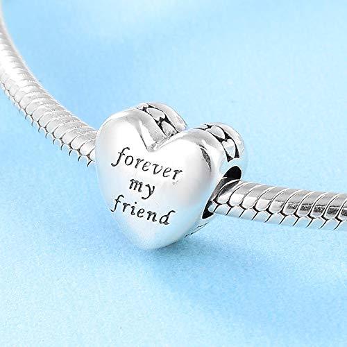 XSZPKL 925 Sterling Silber herzförmige Freundschaft Bedeutung Buchstabe D Geschenk Perlen passen Original Bettelarmband Schmuck