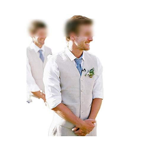 Outwear 2020 clásico verano de los hombres traje gris playa lino trajes de boda para los hombres novio esmoquin 3 piezas casual mens trajes chaqueta pantalones chaleco Chaleco y pantalones 48 EU/M