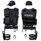Black Snake SWAT FBI Police Security Kostüm inkl. Einsatzweste, Pistolenholster, Handschellen und...