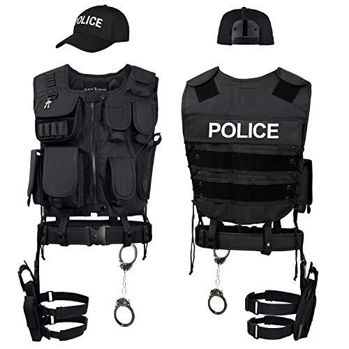 Black Snake SWAT FBI Police Security Kostüm inkl. Einsatzweste, Pistolenholster, Handschellen und Baseball Cap - XS/S - Police