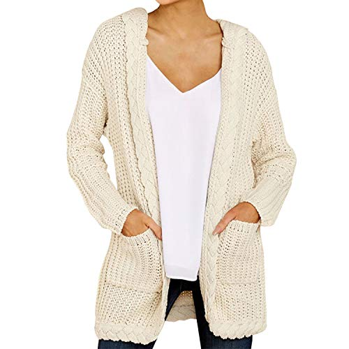 Women Hooded Knitting Cardigan Coat Sweater Long Sleeve Loose Knitted Outwear Pull Femme Winter Beige XXXL