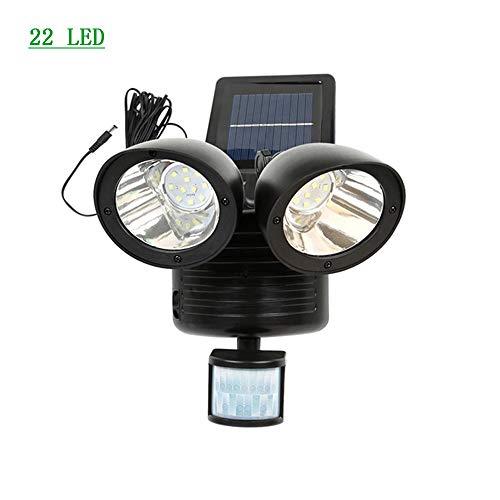 STHfficial LED zonnelicht dubbele kop menselijk lichaam bewegingssensor weg zonne-lamp buitenshuis waterdichte energiebesparende noodgevallen koplamp 22 leds zwart.