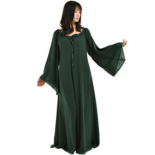BLESSUME Medieval Renaissance Women Green Gown Dress