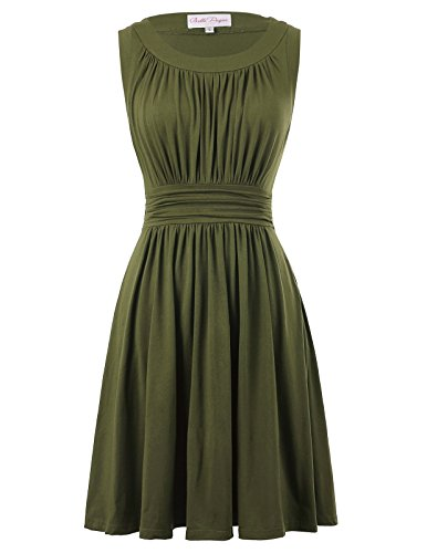 Belle Poque Cotton Elastic Pleated Swing Dress A-line Size L Olive Green BP289-4