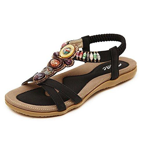 Sandalias mujer verano bajas perladas negro Size: EU 35-41