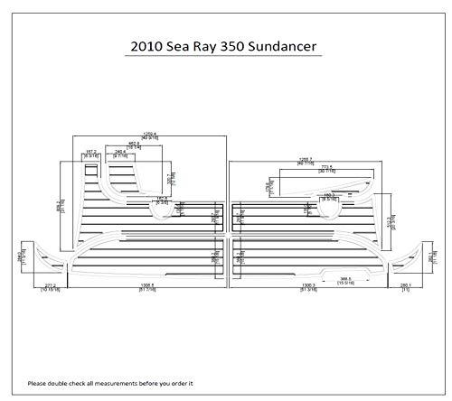 2010 Sea Ray 350 Sundancer Swim Platform Pad 1/4' 6mm Boat EVA Teak Decking (Light Grey with Black Lines)