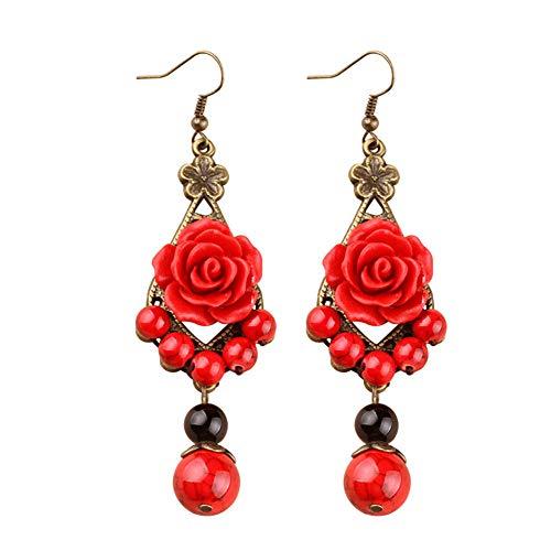Comet Frauen Ohrringe Lange Ethnische Ohrringe Rote Rosen Vintage Ohrringe Festliche Hochzeit Braut Accessoires Ohrringe