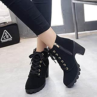 ACWTCHY Sneakers Women Shoes Fashion Solid Lace-up Ladies Shoes Women Boots High Heels Shoes Woman Zipper Ankle Boots Wome...