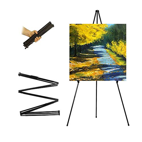 63'' Tall Display Easel, Folding Instant Poster Easel, Black Steel Metal Telescoping Art Easel for Display Show, Easy Assembly (Black, 1Pack)