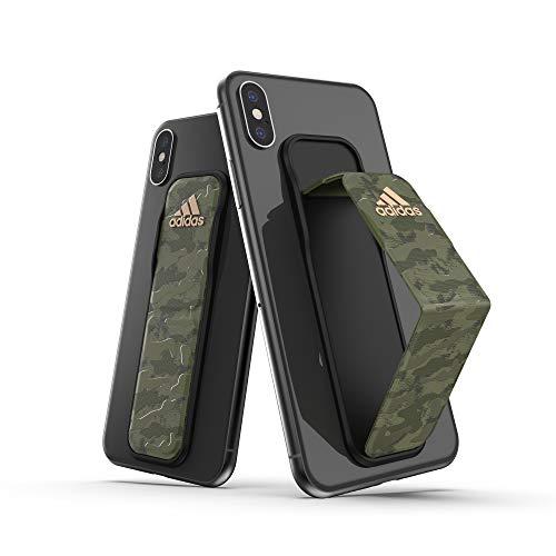 adidas Compatible con iPhone XS MAX y Samsung Galaxy S10 Plus, Banda de Agarre acoplable, diseño de Camuflaje Verde