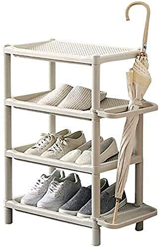 QZMX Estante de Zapatos Zapatero de 4 Niveles plástico Organizador de Pasillo, baño, Sala de Estar, dormitorios y Pasillo Estante