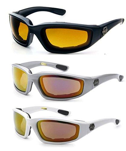 Choppers 3 Paar Gläser Padded Rahmen Lense-Block 100{9eed3733c597908a9a380cfc9cc15184f374fcd11bcb530fe019eeeb890711a7} Uvb Für Outdoor Activity Sport 2 Schwarz eine Größe passt meistens Hd -Silver Revo - White Revo