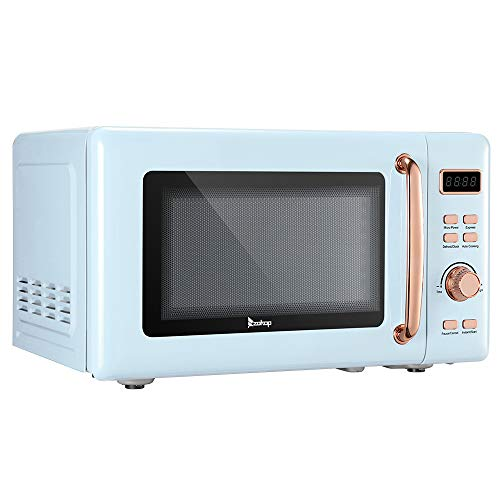 700W Retro Microwave With Display And Rose Golden Handle 0.7 Cu.Ft Easy-to-Clean (Blue)