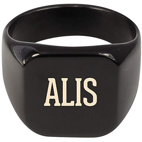 Molandra Products ALIS - Adult Last Name Stainless Steel Ring, Black, 9