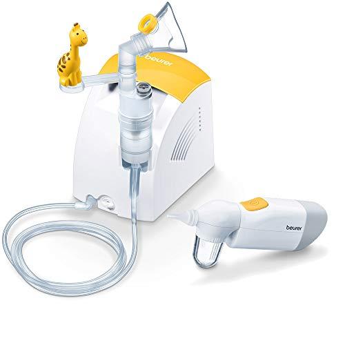 Beurer IH 26 Kids elektrischer Inhalator zur Verneblung von flüssigen Medikamenten und NA 20 Nasensauger zur sanften und hygienischen Entfernung von Nasensekret bei Babys und Kleinkindern