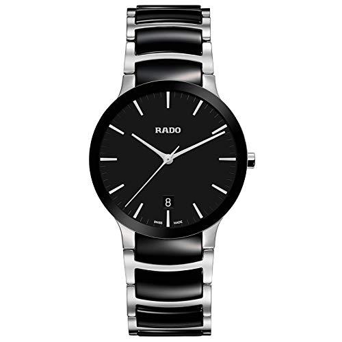 Rado Centrix Herren-Armbanduhr aus Stahl und schwarzer Keramik, R30934172.