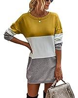 KIRUNDO Women's 2020 Winter Long Sleeves Mini Sweater Dress Leopard Plaid Print Crew Neck Oversized Long Knit Pullover Tops (X-Large, Color Block-Yellow)